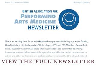 British Association for Performing Arts Medicine enewsletter