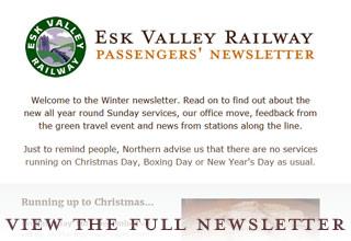 Esk Valley Railway enewsletter